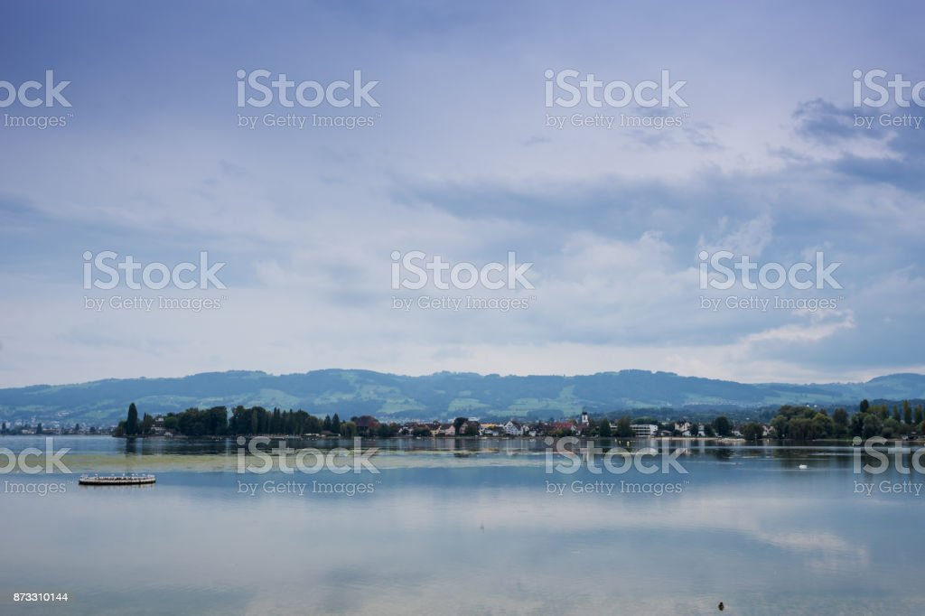 Mountains, valley, lake Constance and peaks landscape, natural environment. Hiking in the alps. Arbon,  Switzerland, Europe stock photo