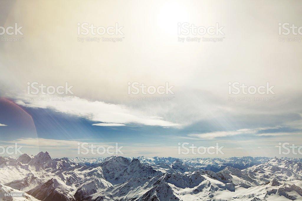 Mountains, view from peack Elbrus stock photo