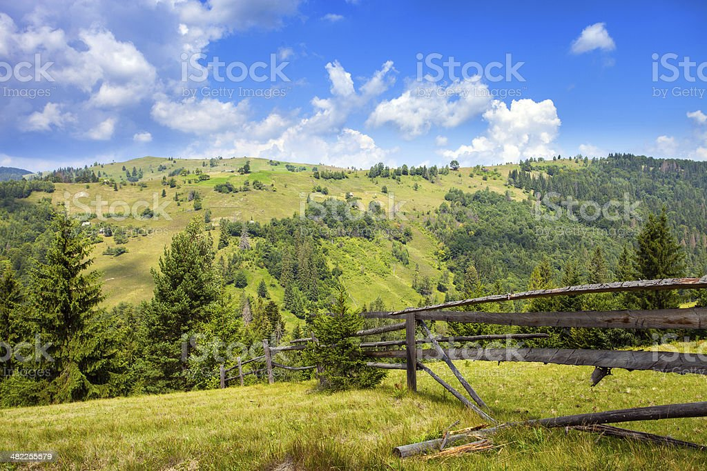 mountains view with sky and stones. Carpathian mountains stock photo