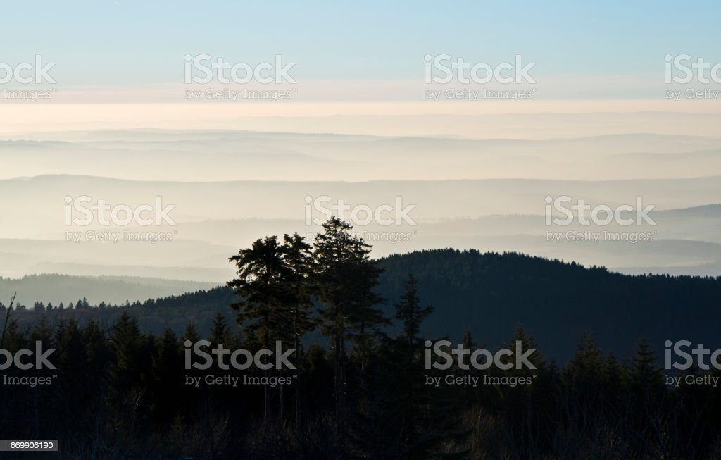 mountains with beautiful clouds stock photo