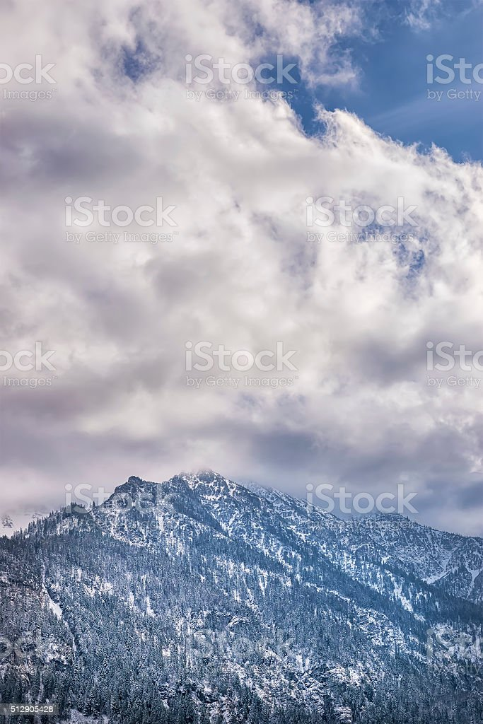 Mountains with clouds stock photo