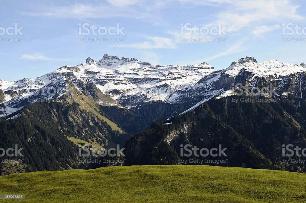 Mountains with Green Meadow stock photo