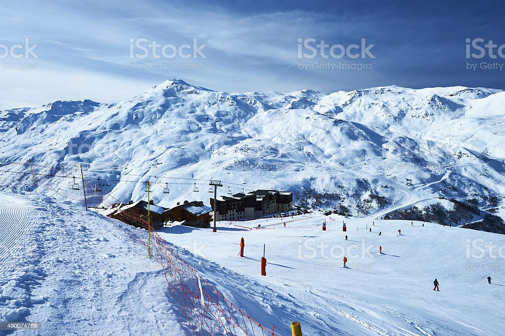 Mountains with snow in winter stock photo