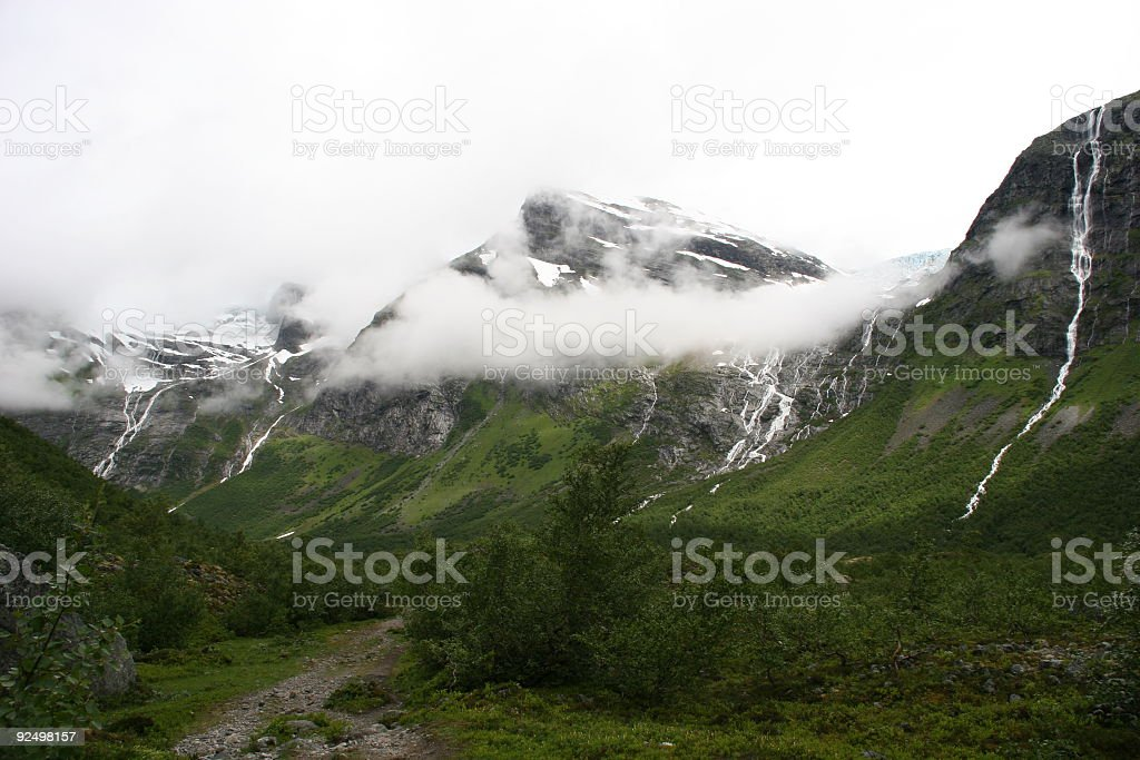 Mountains with some waterfalls in Norway royalty-free stock photo