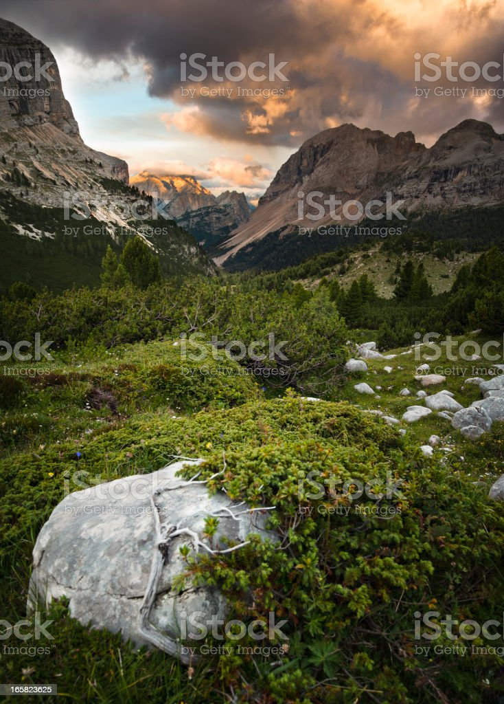 Mountainscape at sunset royalty-free stock photo