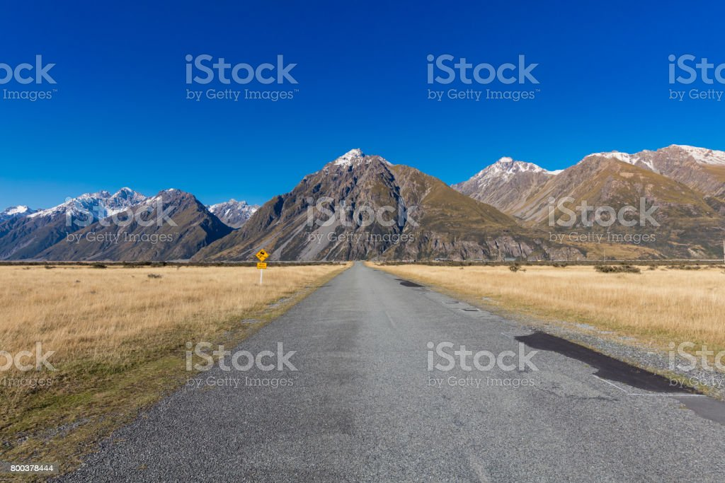 Mountainscape near Mount Cook, New Zealand stock photo