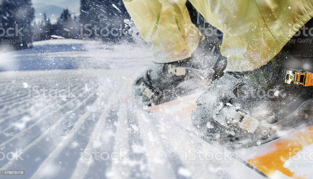 Mountain-skier legs closeup stock photo