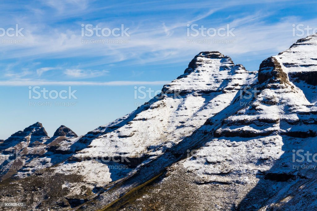 Mountain-Sky Lines in Lesotho stock photo