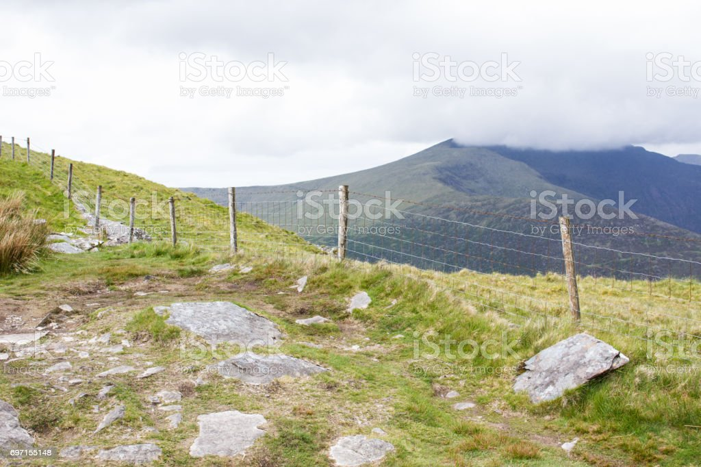 Mountaintop Fence stock photo