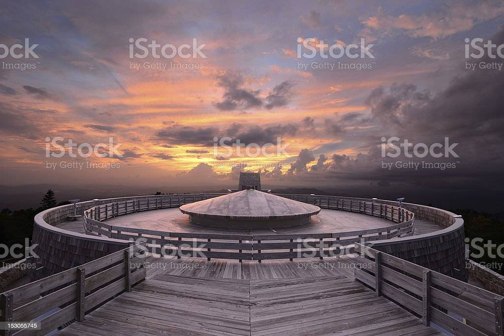 Mountaintop Observatory at Dusk stock photo