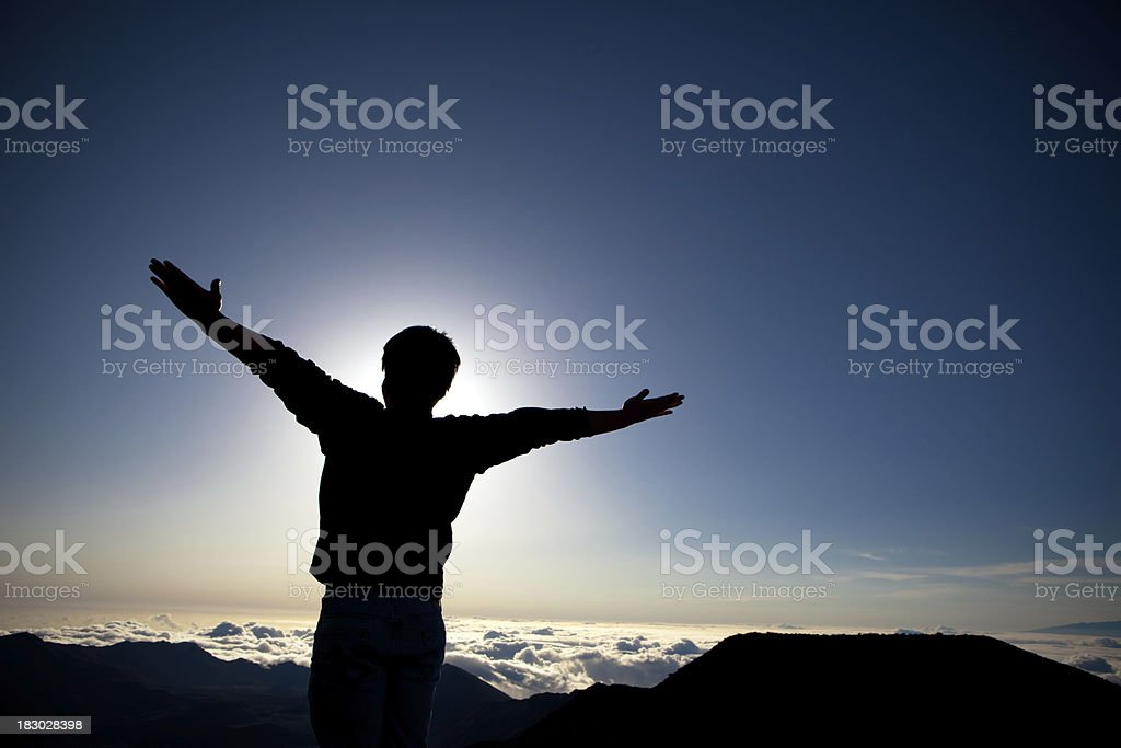 Mountaintop victory royalty-free stock photo