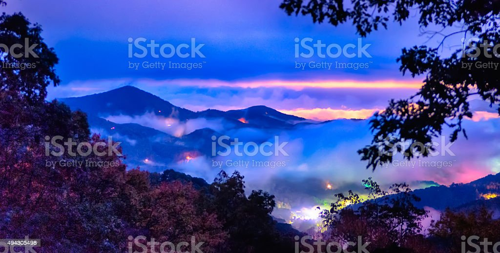 Mountaintop view of rolling hills in the Blue Ridge Mountains stock photo