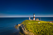Lighthouse, Montauk Point, Lush Foliage, Architectural Feature, Blue