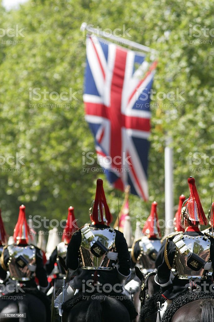 Mounted gaurdsmen of the household cavalry royalty-free stock photo