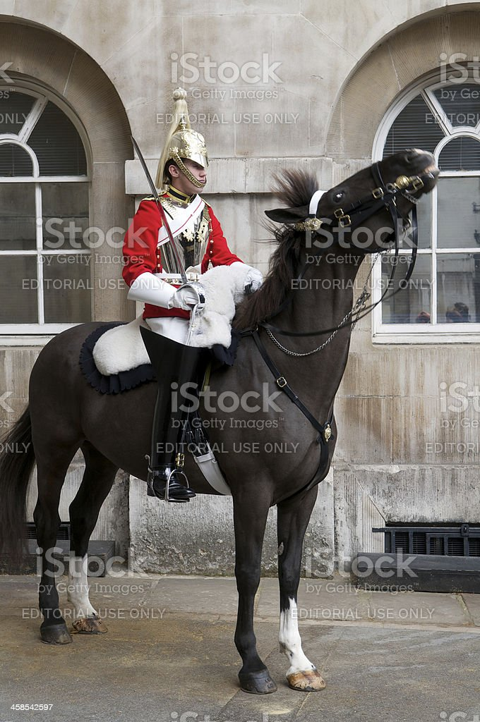Mounted Life Guard of the Household Calvary London stock photo