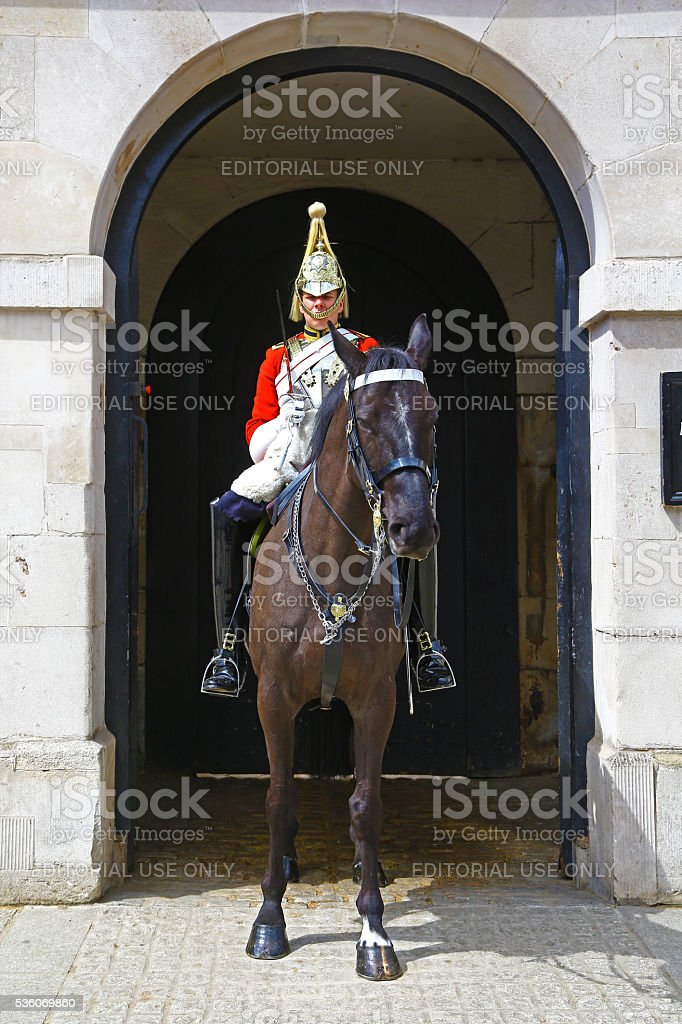 Mounted trooper of the Household Cavalry, London stock photo