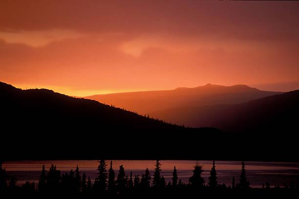mountian sunset stock photo