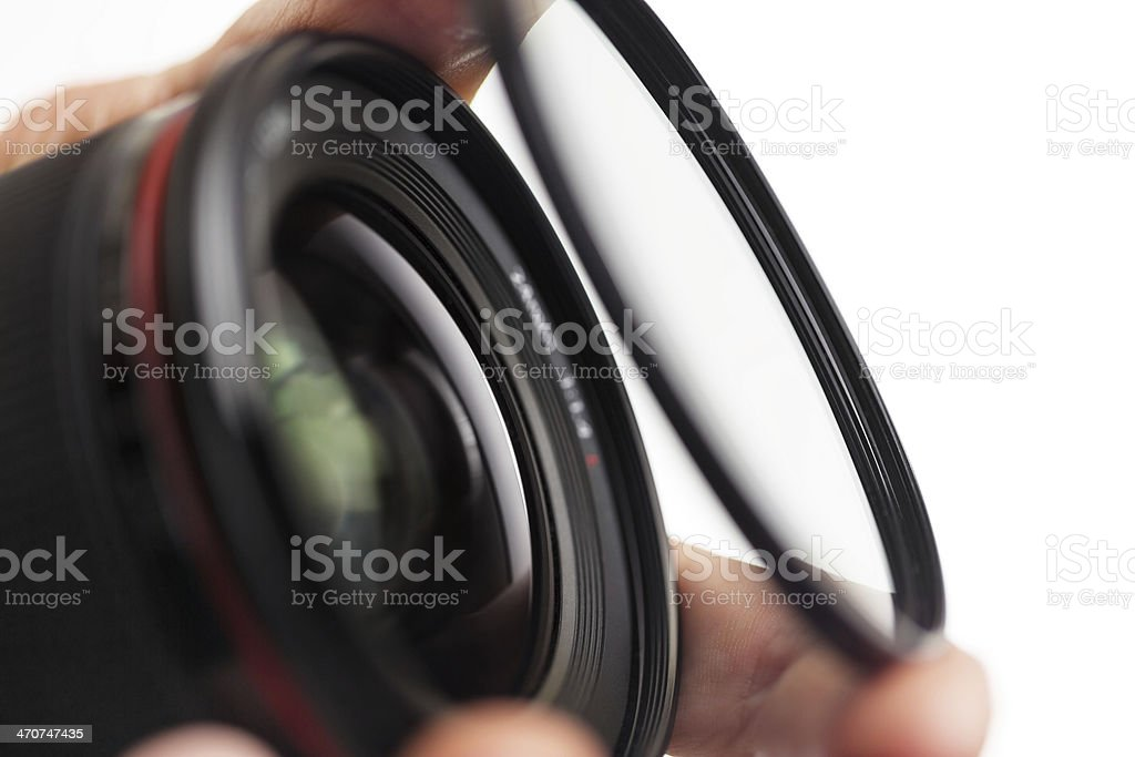 Mounting filter on a 24mm lens stock photo