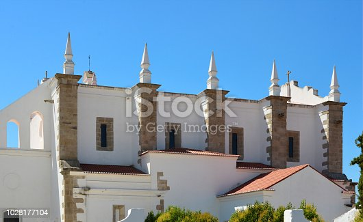 Moura, Beja district, Portugal: eastern facade of the church of Saint Francis, part of the  Franciscan convent - founded in 1547 - Convento e Igreja de São Francisco
