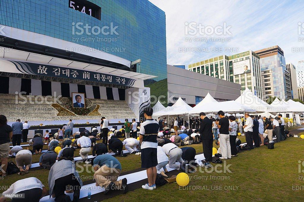 Mourners Kim Dae Jung Memorial Angled Seoul Korea royalty-free stock photo