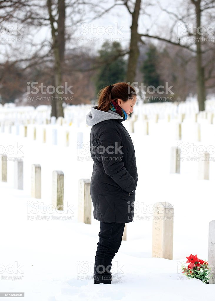 mourning the dead at Arlington National Cemetery royalty-free stock photo