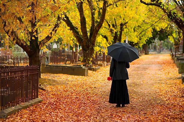 deuil noir femme portant dans un cimetière à l'automne - veuve photos et images de collection