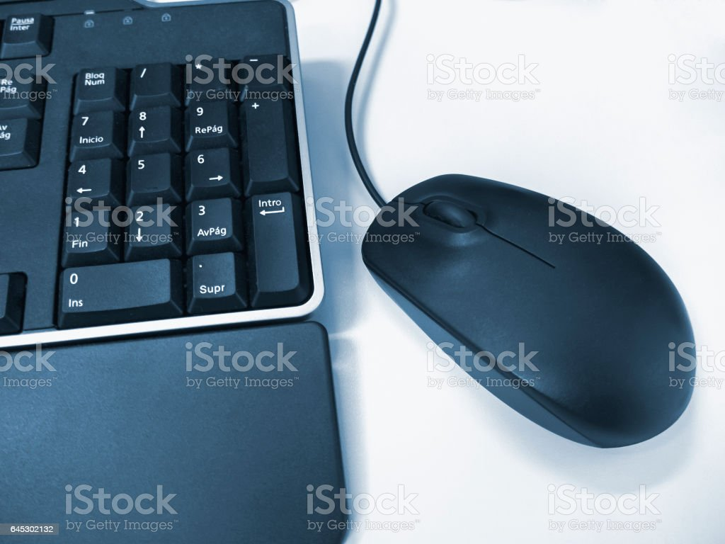 Mouse and keyboard blue stock photo