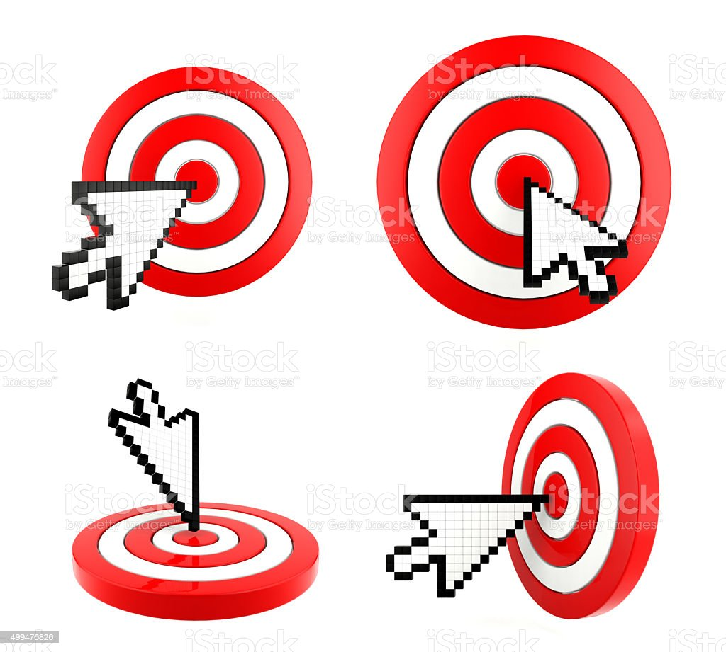 Mouse arrow cursor pointing at the target stock photo