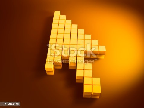 812823858istockphoto Mouse Arrow Golden Cubes 184363439
