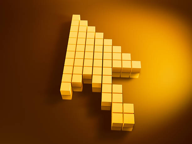 Mouse Arrow Golden Cubes 3D Render of a Computer Mouse Arrow built with pixelated golden cubes. Very high resolution available! Use it for Your own composings!Related images: golden cube stock pictures, royalty-free photos & images