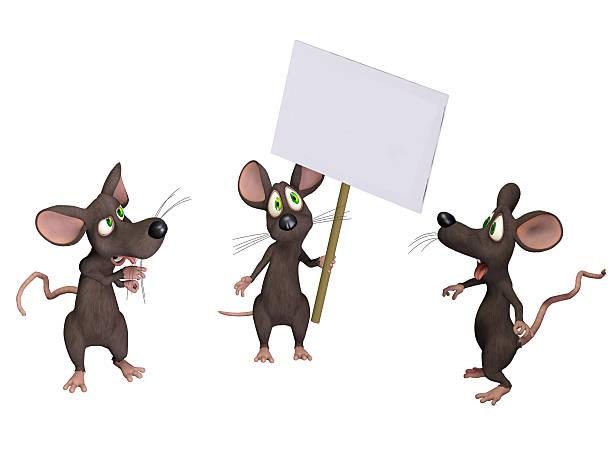 maus hält ein schild - maus comic stock-fotos und bilder
