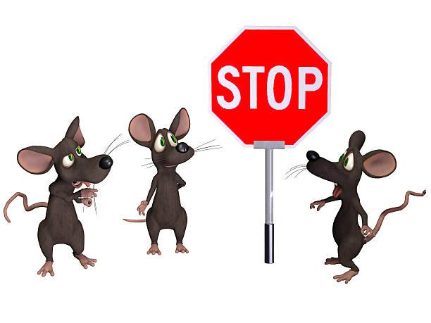maus halten ein stop-schild - maus comic stock-fotos und bilder
