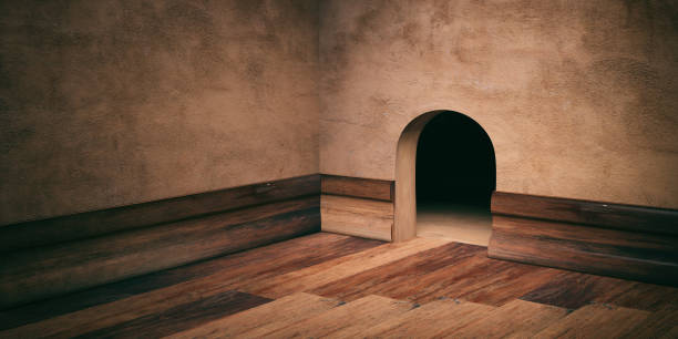 mouse house hole on plastered wall, wooden floor and skirting, copy space. 3d illustration - trap house stock pictures, royalty-free photos & images
