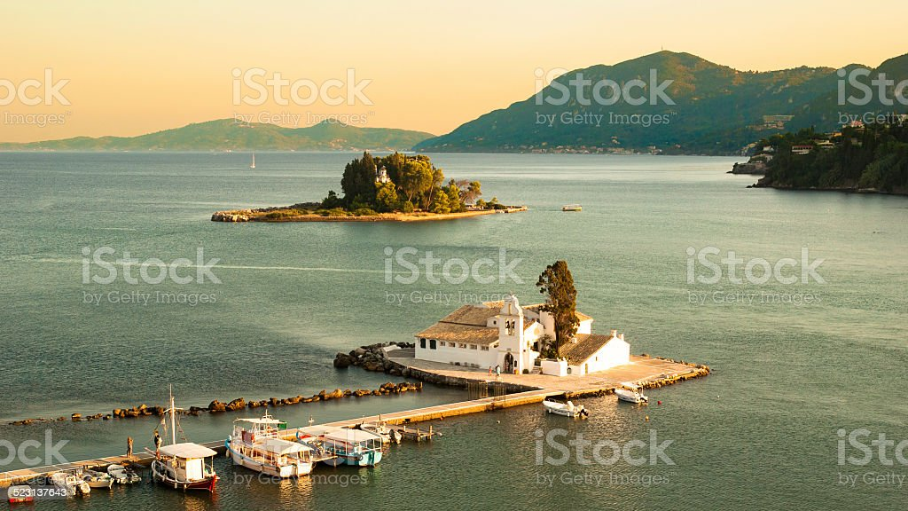 Mouse Island and Vlacherna Monastery, Corfu - Greece stock photo