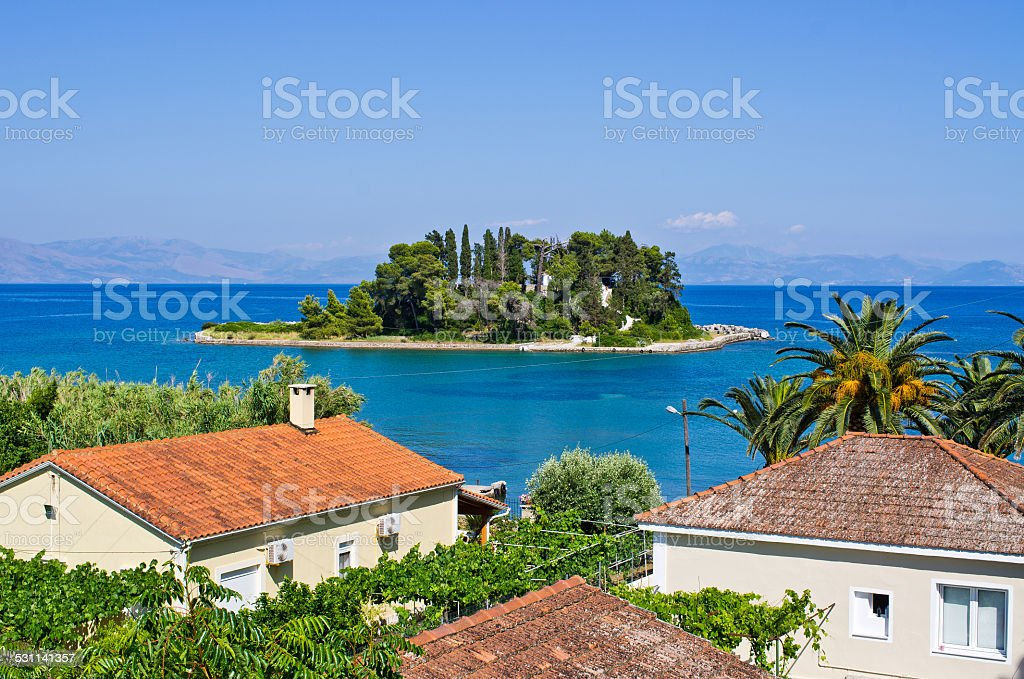 Mouse Island (Pontikonissi) on Corfu, Geece stock photo