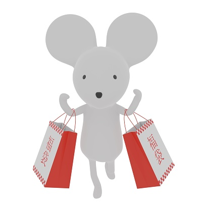 Mouse New Year's card 3DCG material