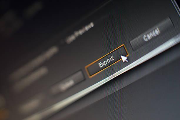 mouse pointer klicken sie auf die schaltfläche bearbeiten software exportieren - postproduktion stock-fotos und bilder