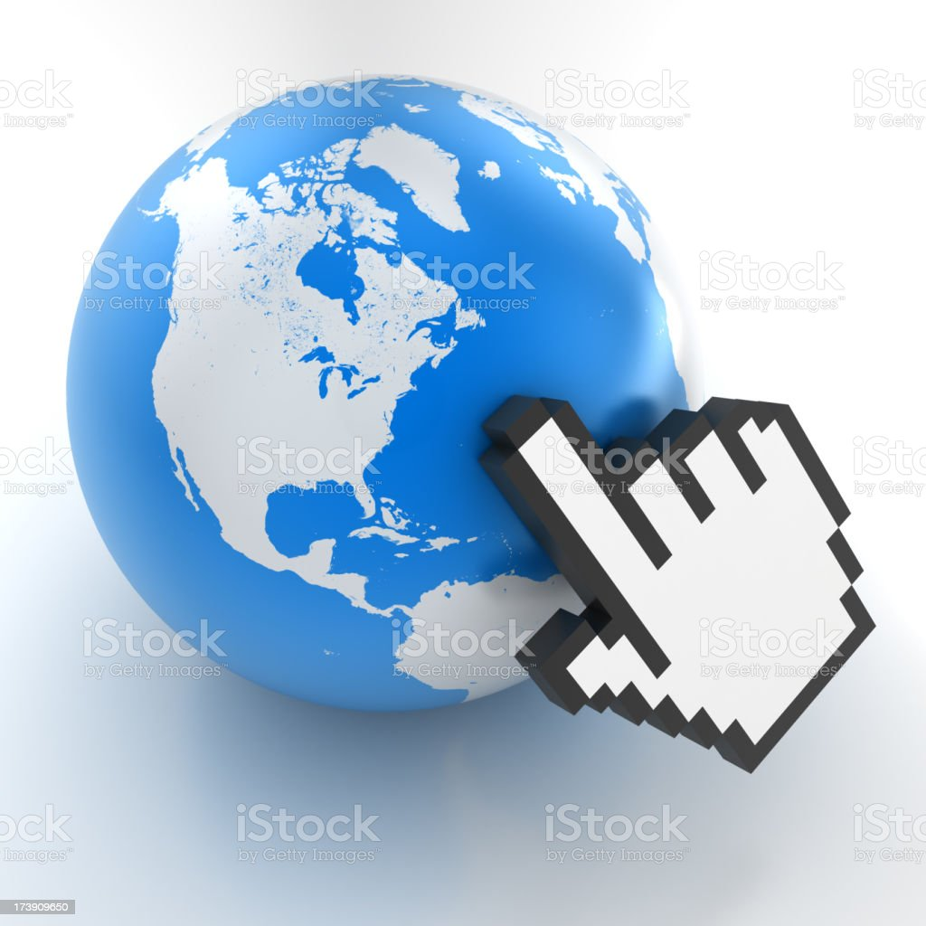 Mouse pointer pointing to earth globe - clipping path royalty-free stock photo