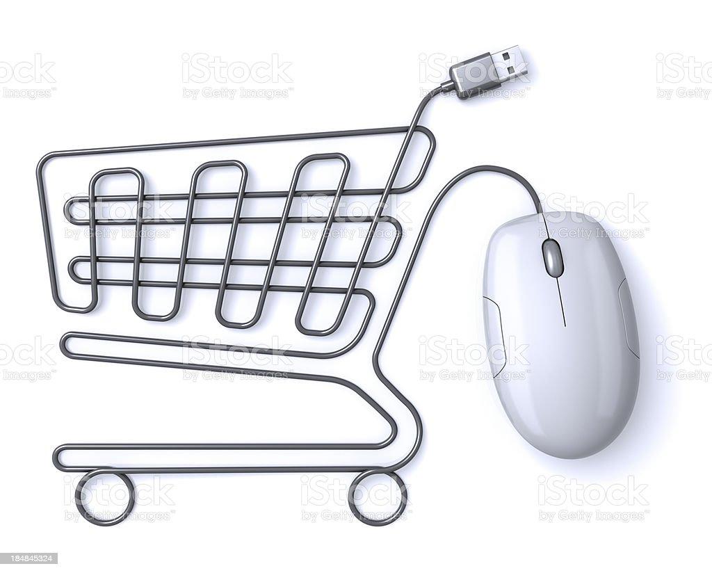 Maus Einkaufswagen Weiß – Foto