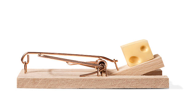 Mouse trap with clipping path real photo of a mouse trap with genuine cheese (Emmental) with clipping path trap stock pictures, royalty-free photos & images
