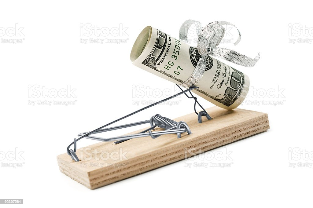 Mouse trap with dollars royalty-free stock photo