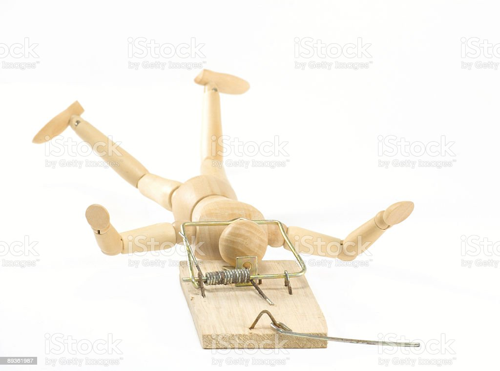 mouse trap with figure royalty free stockfoto