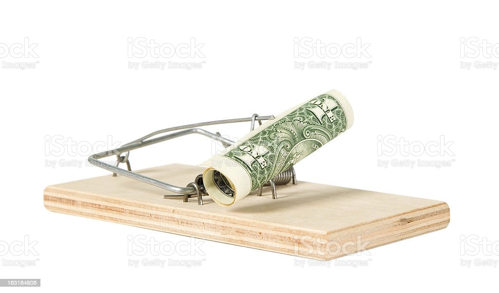 Mouse trap with money royalty-free stock photo