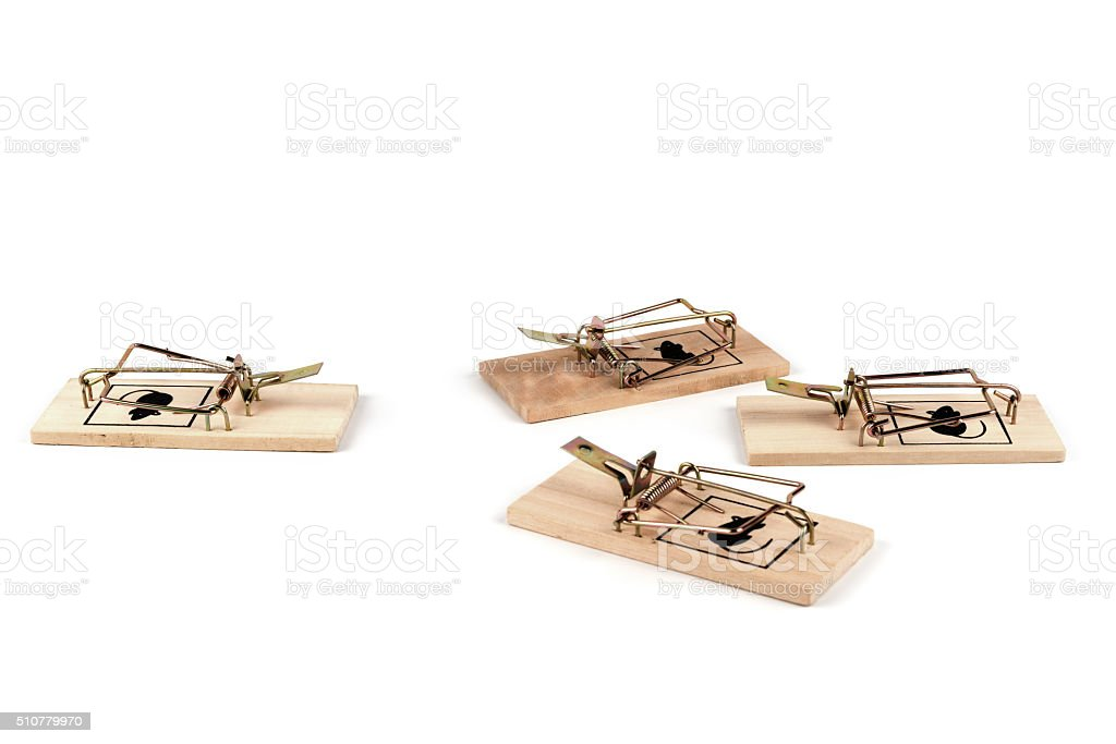 mouse traps on the bottom stock photo