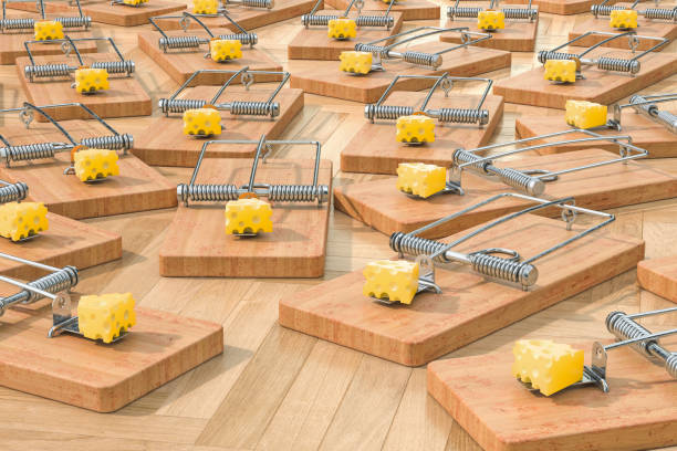 mouse traps with cheese on the floor, 3d rendering - trappola per topi foto e immagini stock