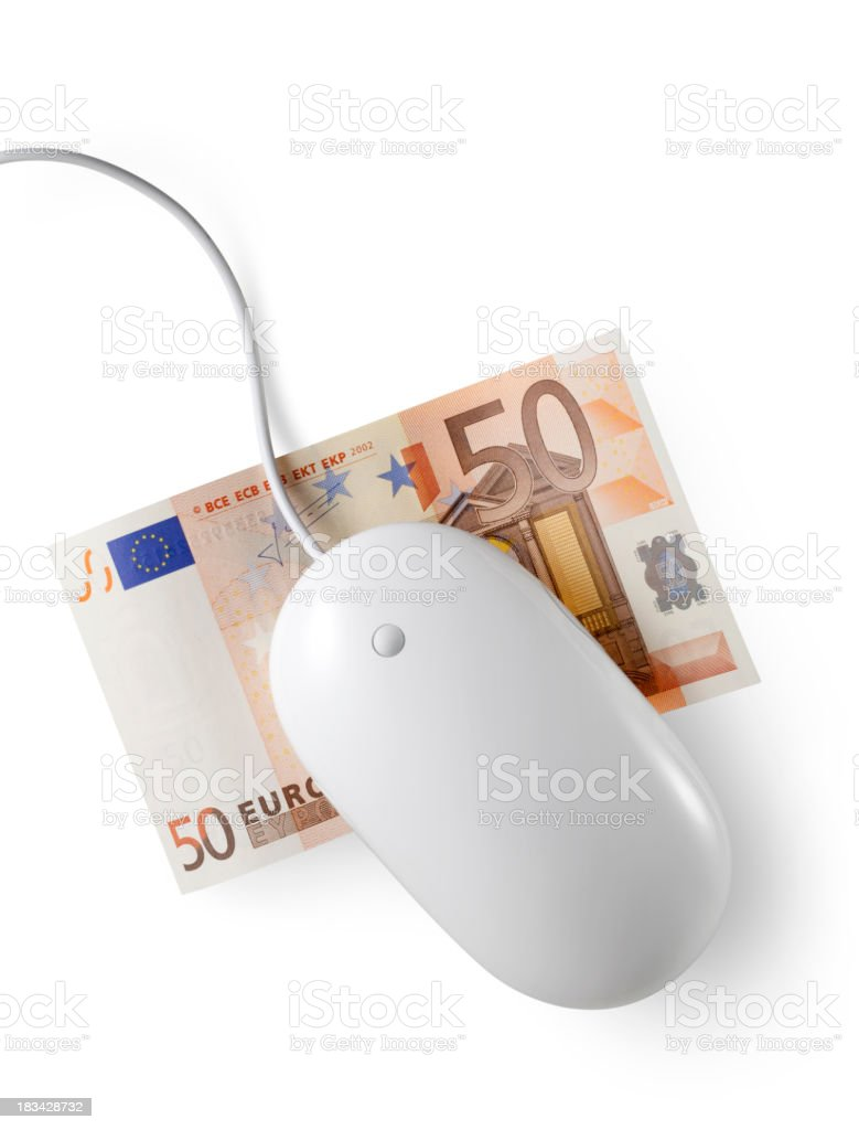 Mouse with fifty euro banknote royalty-free stock photo