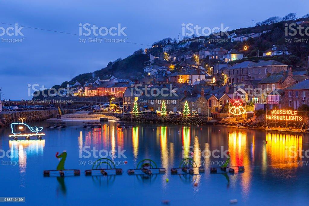 Mousehole Christmas Lights Cornwall stock photo
