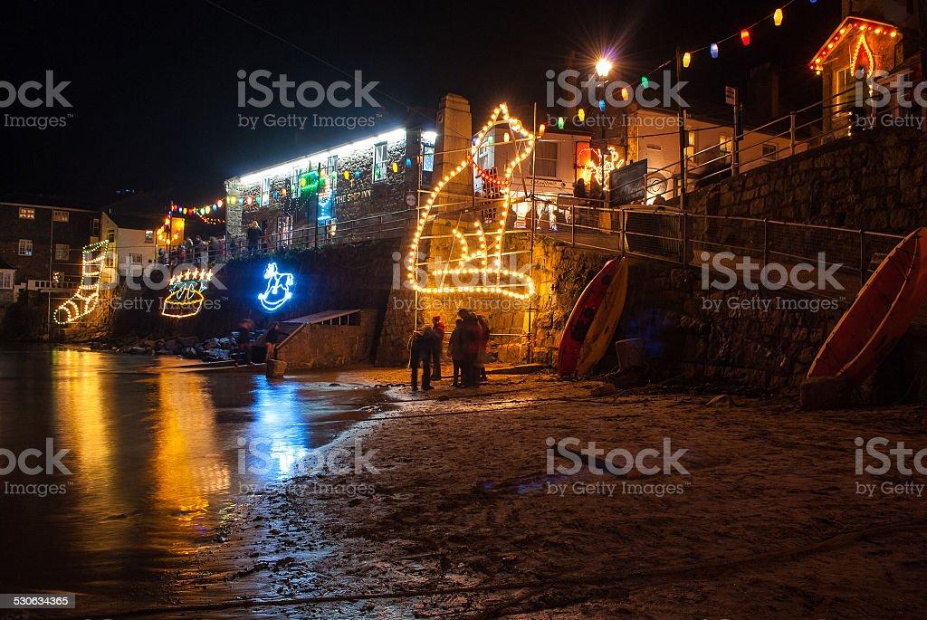 Mousehole Christmas Lights stock photo