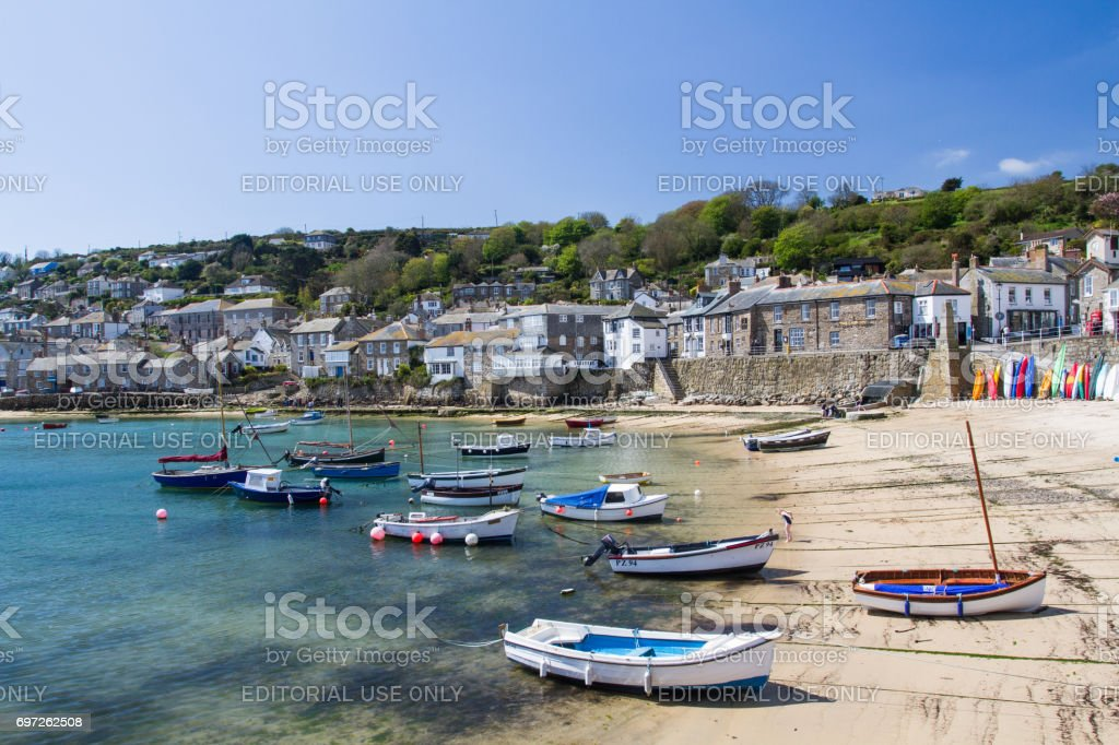 Mousehole Harbour In Cornwall stock photo