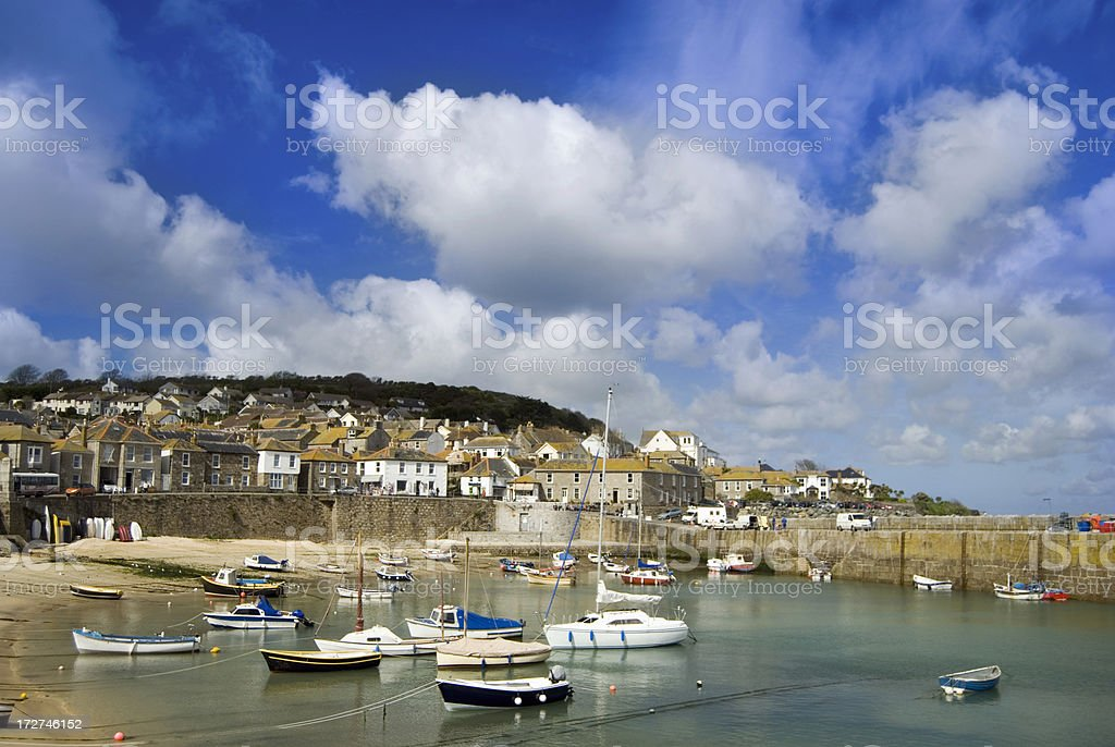 Mousehole Village and Harbour in Cornwall UK Fishing Village royalty-free stock photo